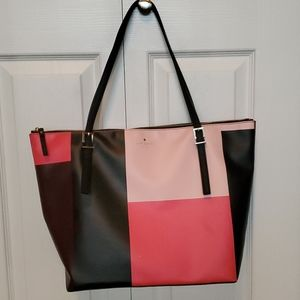 Kate spade pink and black colorblock tote euc